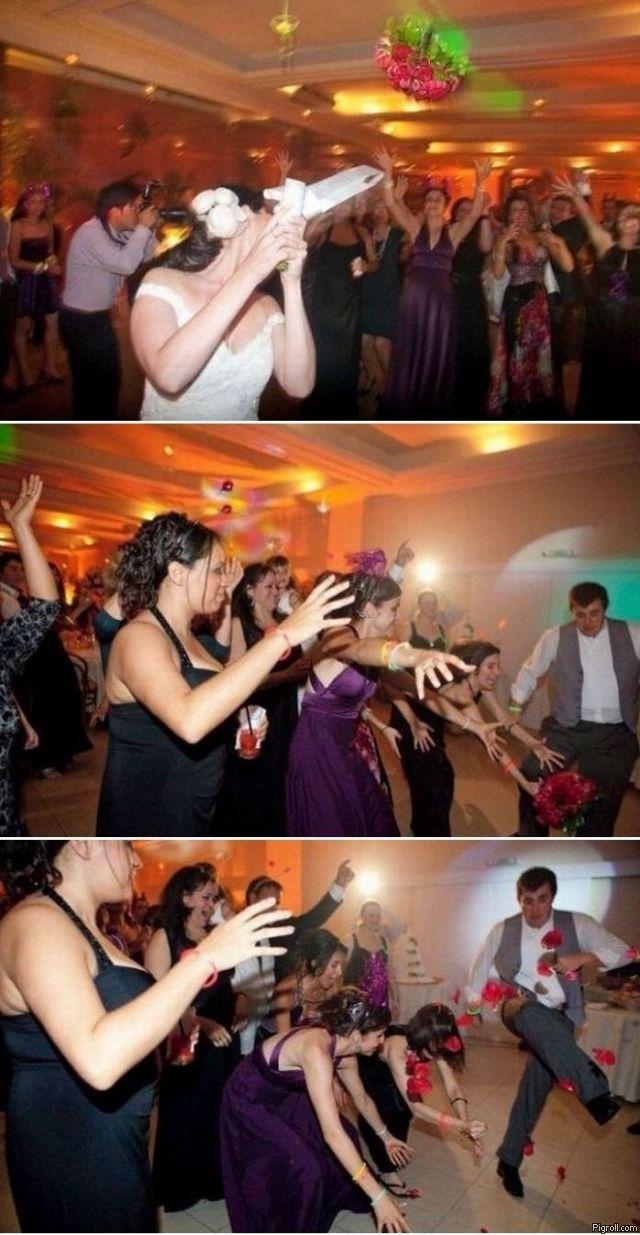 Guy kicking a wedding bouquet thrown by a bride