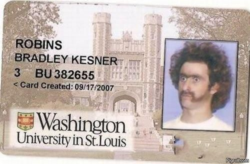 Bradley Kesner Robins' university card