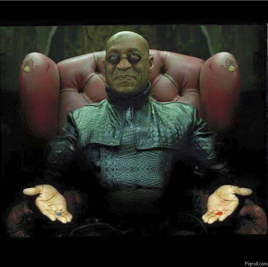 Bill cosby with a red pill and a blue pill