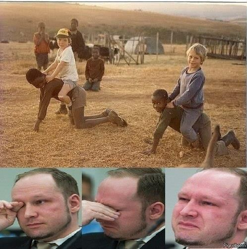 Breivik weeps after seeing white kids riding black kids