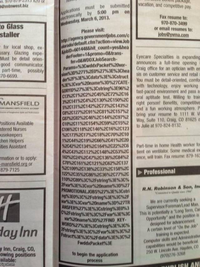 Government job ad with a very long URL