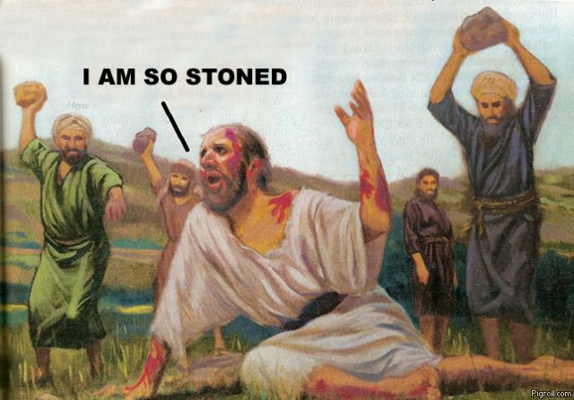 Some biblical guy getting stoned