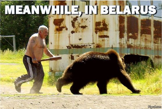 Guy chasing a bear with a baseball bat