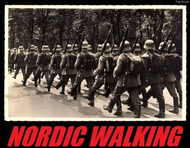 Nazi solidiers engaging in nordic walking