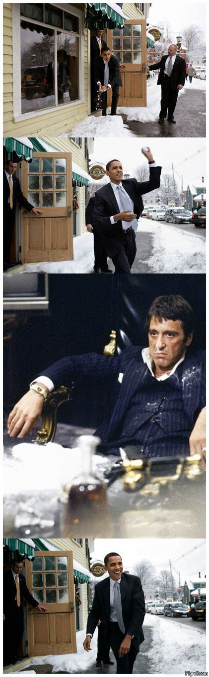 Obama throwing snowball at Al Pacino