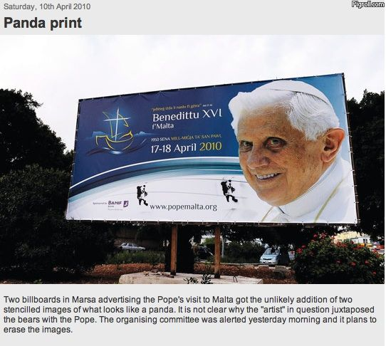 Pedobear on pope billboard