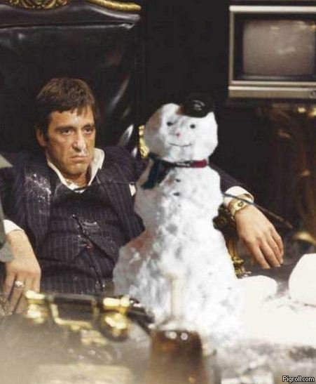 Scarface and a snowman