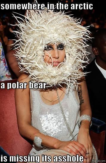 Lady Gaga wearing a polar bear's asshole