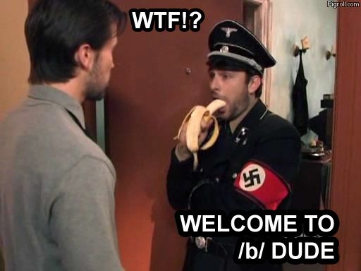 Guy in a nazi uniform eats a banana