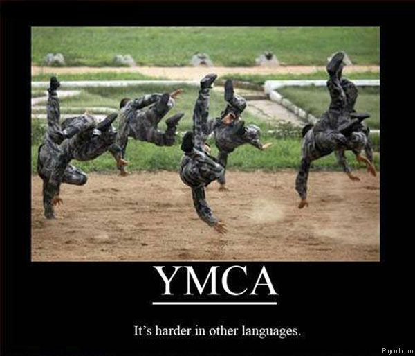 YMCA It's harder in other languages