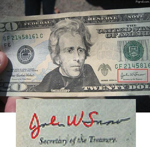20 dollar bill signed by Jews