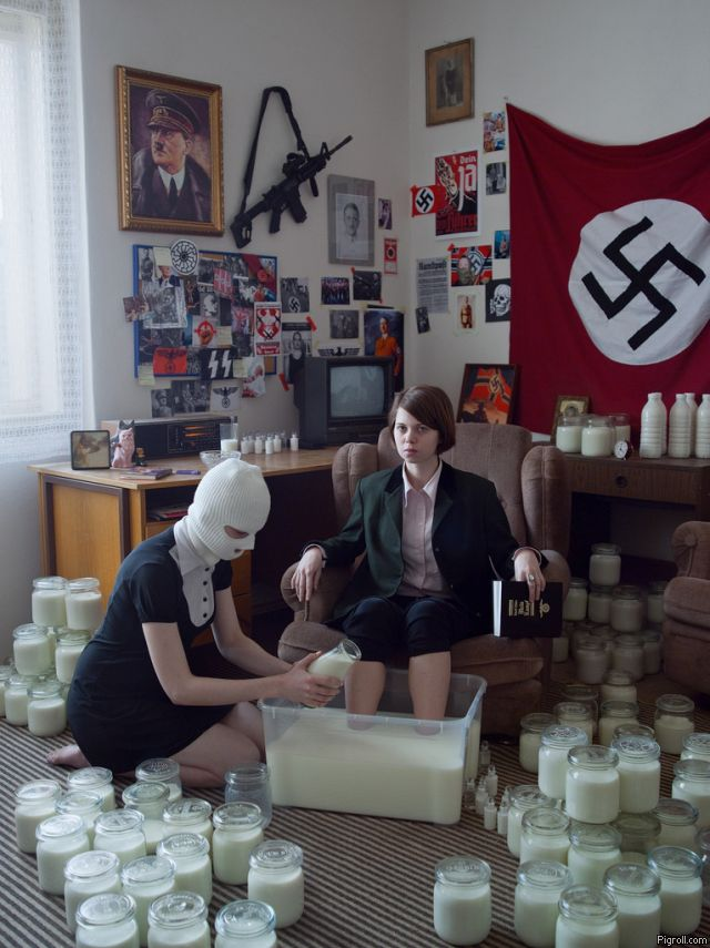 Nazi girls love milk