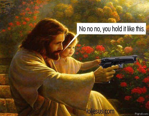Jesus shows some kid how to hold a gun